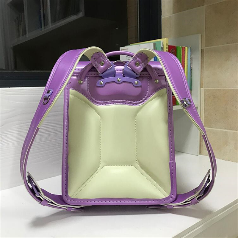 2019 NEW Japanese PU school bag Children's Backpacks For Girls boys Patent leather Orthopedic Backpack Love rivets kids book bag-in School Bags from Luggage & Bags    3