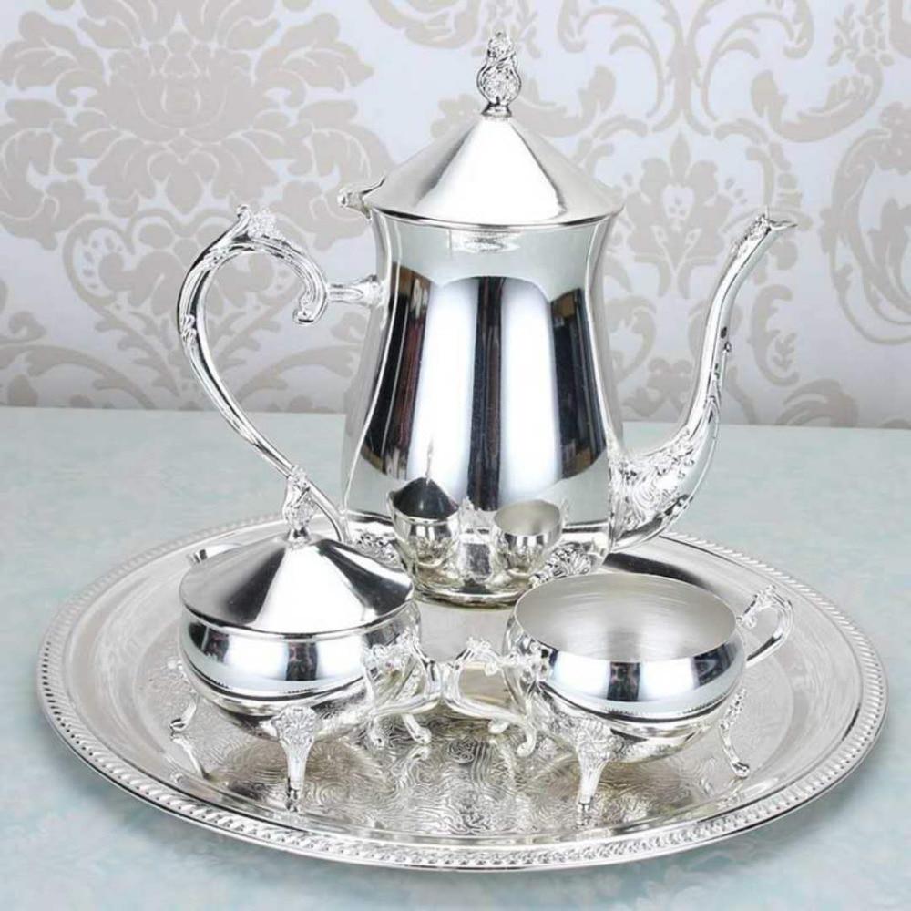 Coffee pot set European coffee pot alloy coffee pot set metal tea set fashion old hip flask afternoon tea set 024