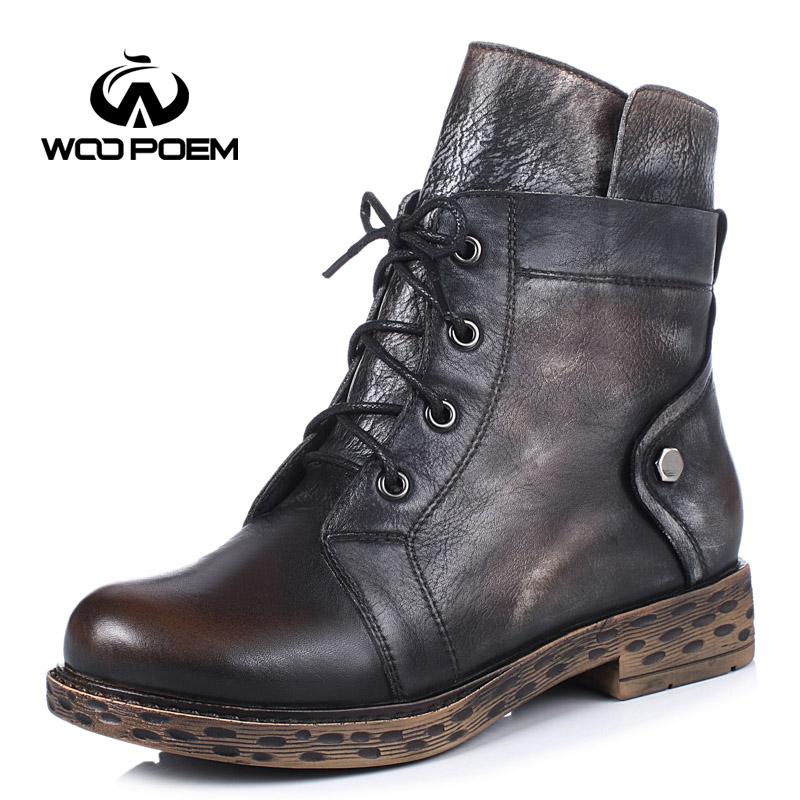 WooPoem Brand Winter Shoes Woman Genuine Leather Boots Low Flat Heel Ankle Boots Motorcycle Boots Retro Women Boots X1309A-L6 woopoem brand winter shoes woman genuine leather boots low flat heel ankle boots rivet motorcycle boots retro women boots 510 l1