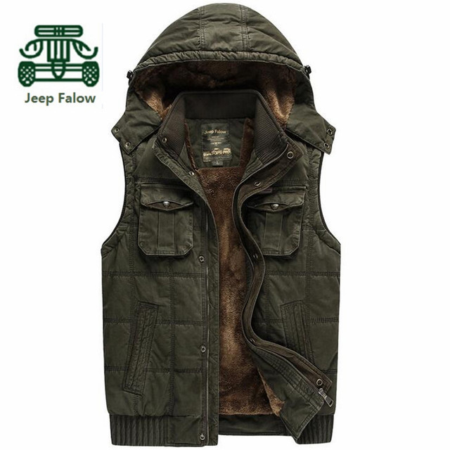 AFS JEEP Falow High Quality Cashmere Inside Vest,100% Cotton Winter Man's Cargo Thickness Sleeveless Jacket Overall Vest