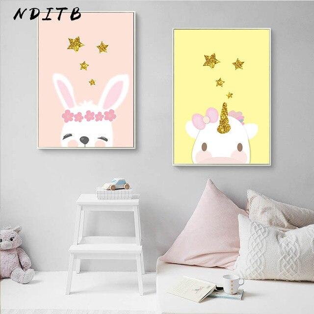 Cute Unicorn Rabbit Canvas Poster Nursery Wall Art Print Lovely