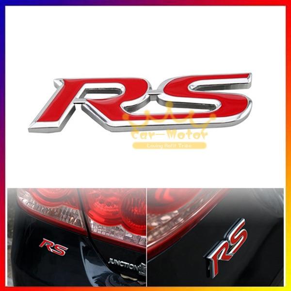 1pc 3d Red Rs Logo Car Auto Styling Symbol Metal Alloy Emblem Badge