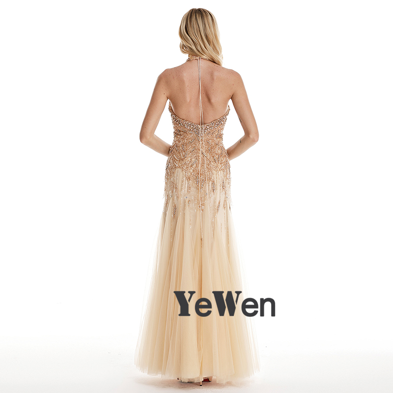 Luxury Halter Shaking Gold Sexy Mermaid Evening Dress 2018 crystals Beading  V neck Backless Prom Evening Dresses Robe De Soiree-in Evening Dresses from  ... efde6b8018fe