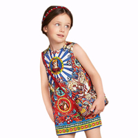 Fashion New Design Girls Printed Dresses Flower Pattern Summer Clothing Kids Dresses For Girls GD90124-527F