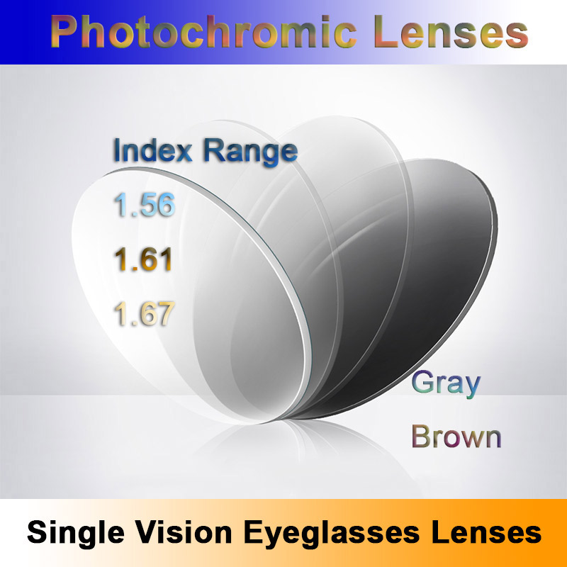 Light-Sensitive Photochromic Single Vision Optical Prescription Lenses Fast and Deep Brown and Gray Color Changing Effect
