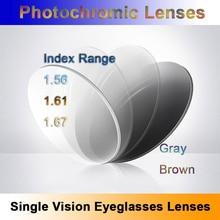 Światłoczułe fotochromowe soczewki korekcyjne z pojedynczą wizją szybki i głęboki brąz i szary efekt zmiany koloru