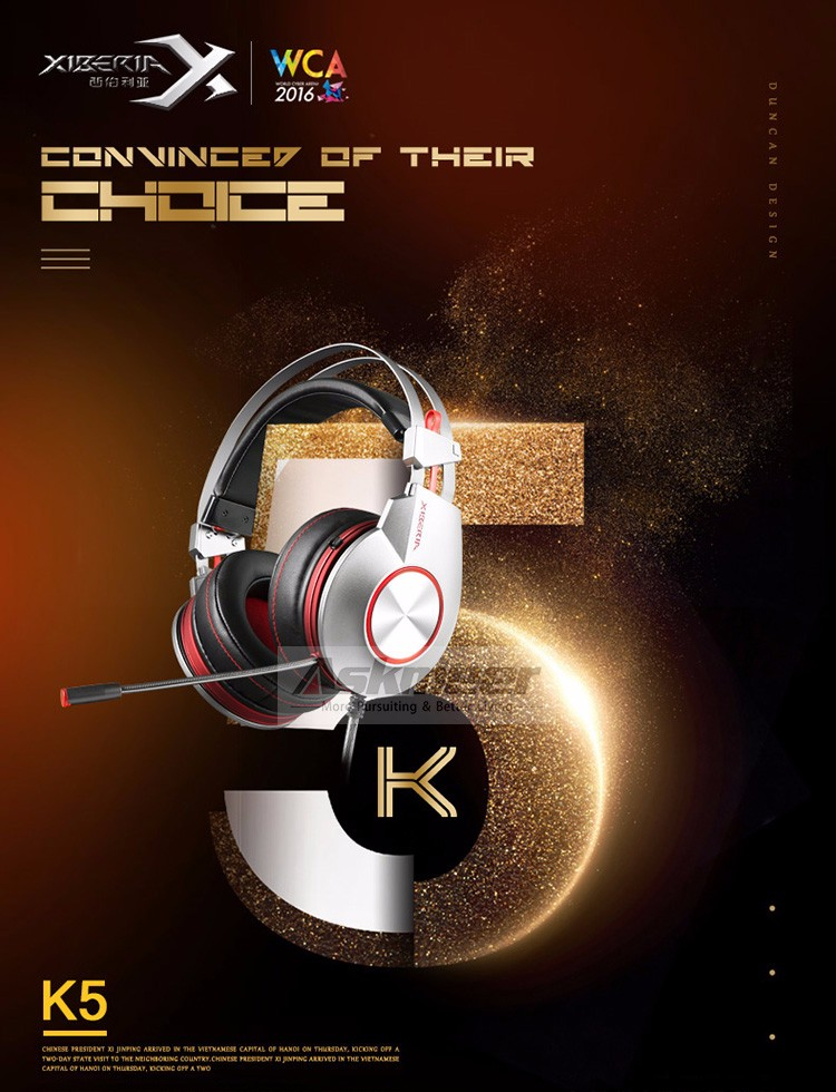 XIBERIA K5 Comfortable USB Over-Ear Pro Gaming Headset for PC with Surround Sound Flexible Microphone (1)