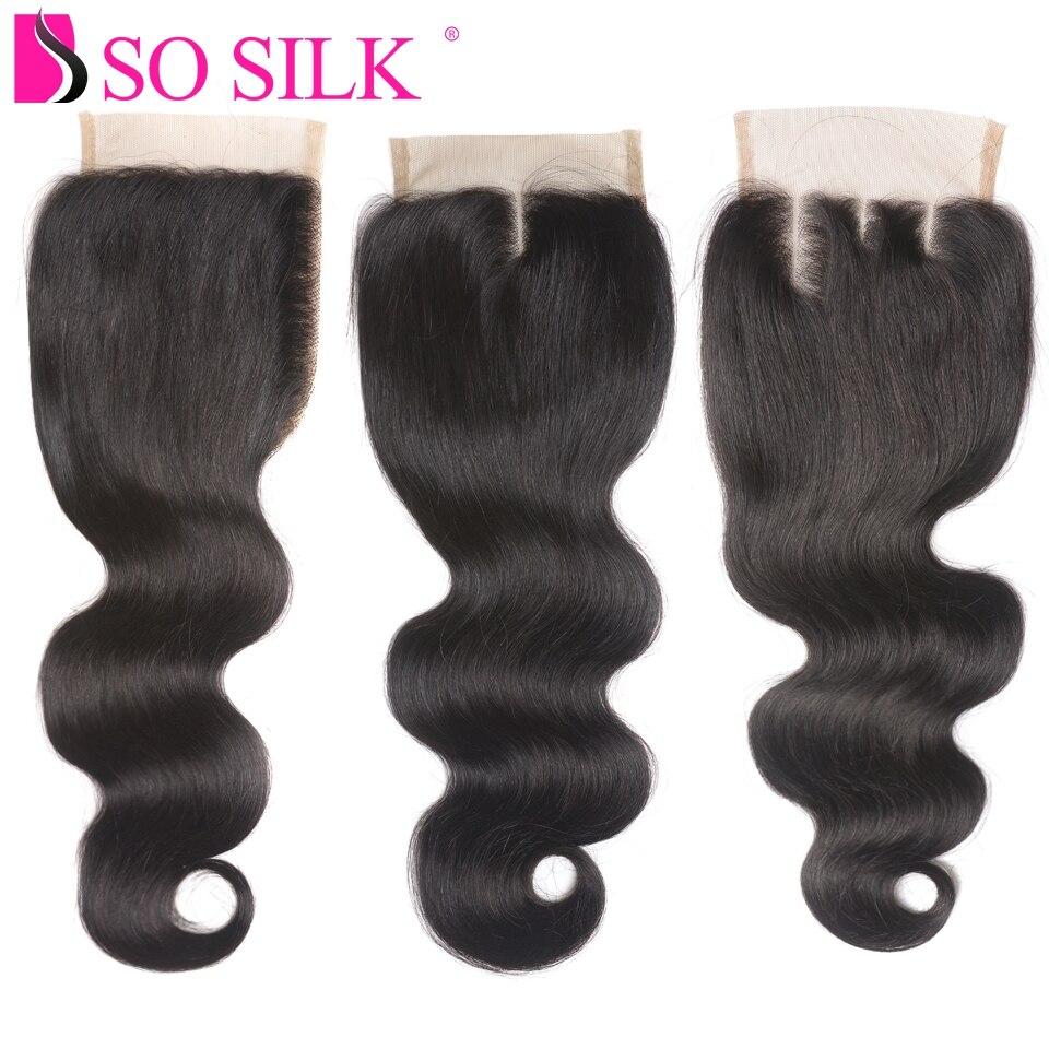 Lace Closure Brazilian Hair Body Wave Three Part 4x4 100% Remy Hair Closure Piece Tissage Cheveux Humain Avec Closure So Silk