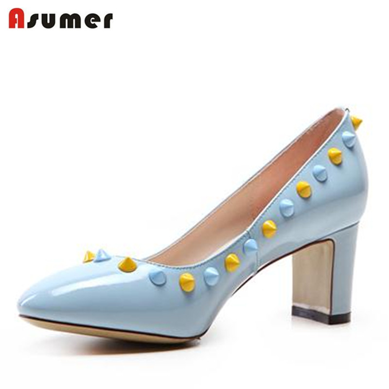 ФОТО 2016 sweet rivets party bridal shoes pumps for women high heels summer genuine leather soft leather pointed toe aquare heel