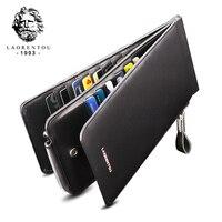 Laorentou Men Wallet Genuine Leather Card Holder For Men Bank Credit Card ID Holders Brand Large