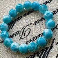 Из натуральной Blue Ларимар лед, камни Большой Круглый Бусины Исцеление Камень Для женщин человек браслет AAAAA 13 мм
