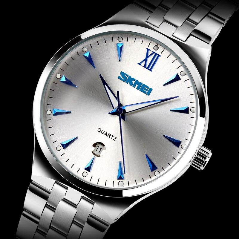 2016 Skmei Marke Uhren Männer Mode Beiläufige Uhr Voller Stahl Uhr Datumsanzeige Leucht Männlichen Schlag Wider Männer Armbanduhren