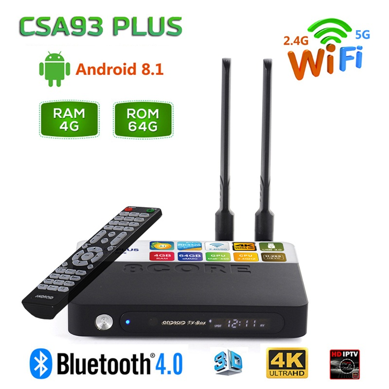 CSA93 Plus Android 8.1 Smart TV Box 4 gb 64 gb RK3328 Quad Core Dual Band 2.4g 5g wiFi Bluetooth 4.0 TVbox USB 3.0 HD Netflix