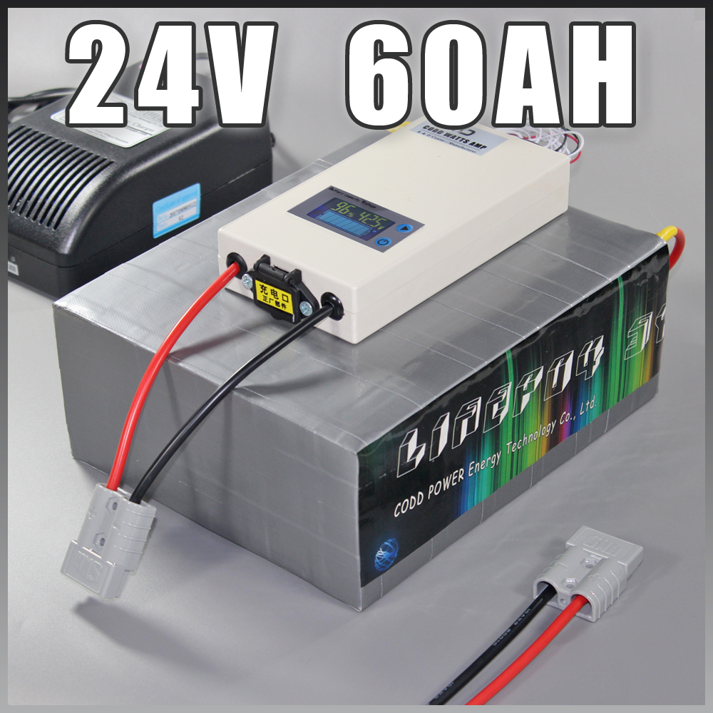 24V 60Ah LiFePO4 Battery Pack ,1500W Electric Bicycle Battery + BMS Charger 24v lithium scooter electric bike battery pack 2017 new style electric bike battery 24v 100ah lithium battery pack with bms customized
