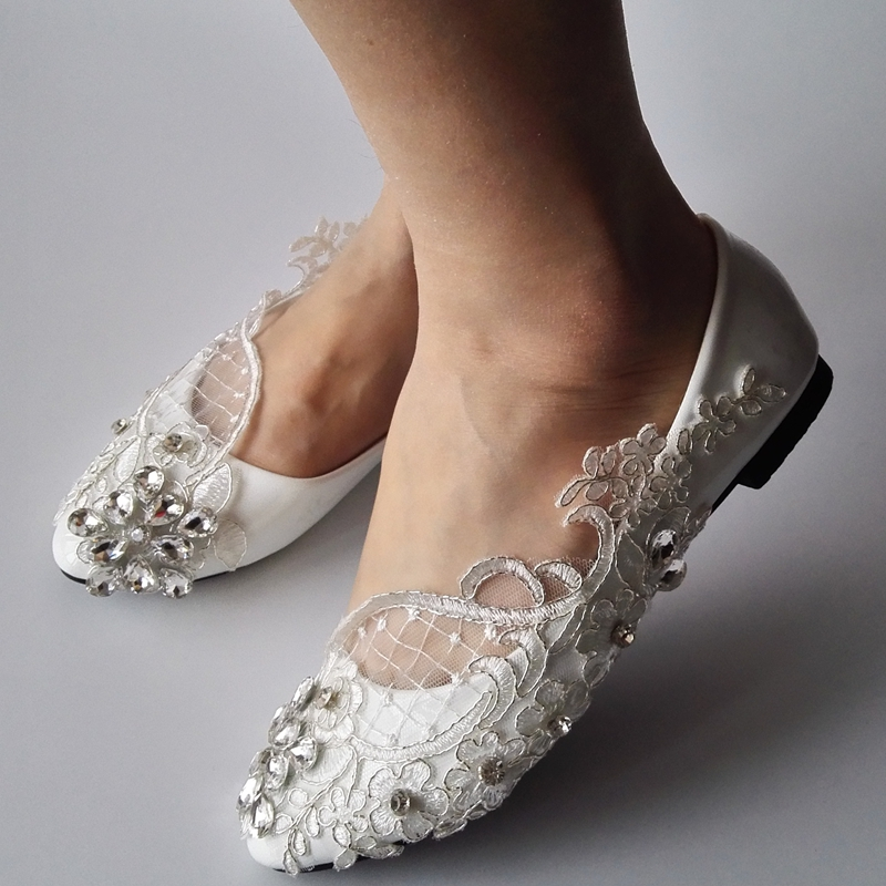 ROC RARE Silver Rhinestones White Lace Women Wedding Shoes Flat Heels  Pointed Toes Lace Party Shoes Custom Women Shoes -in Women s Flats from  Shoes on ... 6dfc1cb021c1