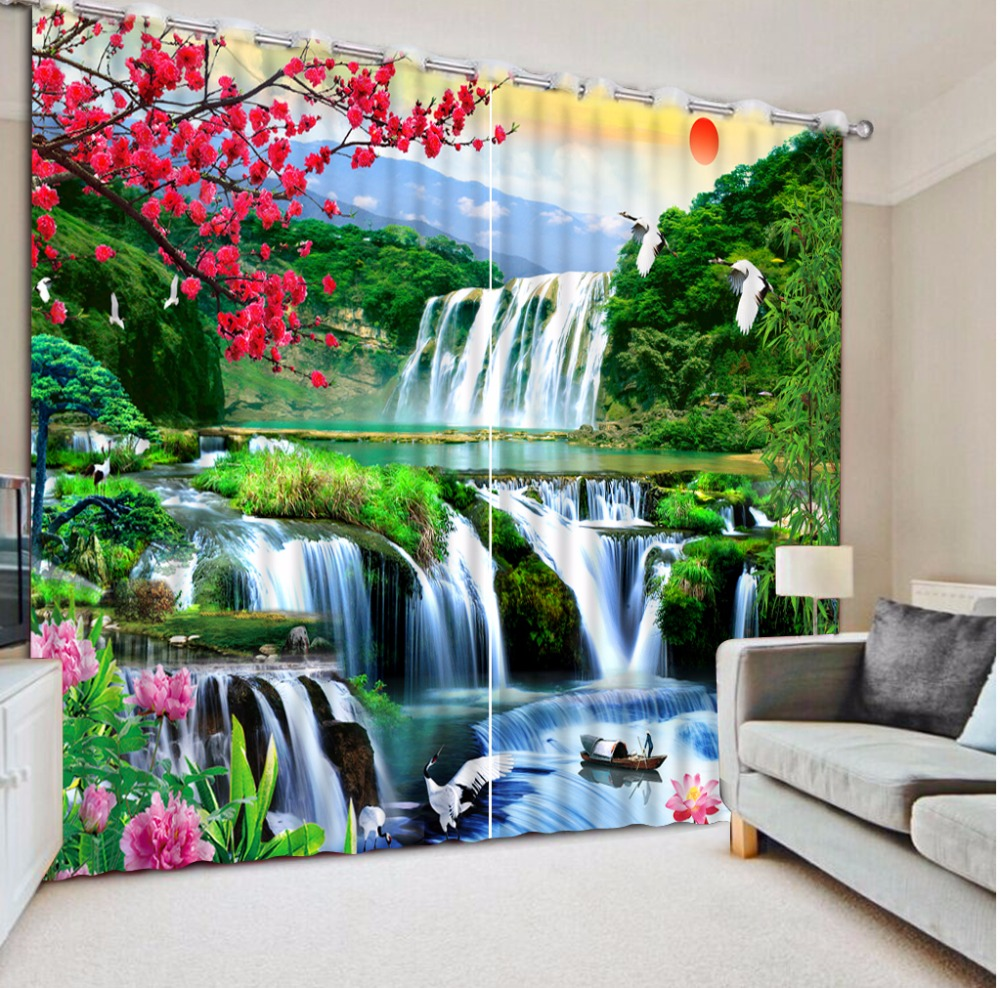 High quality Modern 3D Curtain waterfall mountains beautiful Landscape Curtains For Bedroom Blackout CurtainsHigh quality Modern 3D Curtain waterfall mountains beautiful Landscape Curtains For Bedroom Blackout Curtains