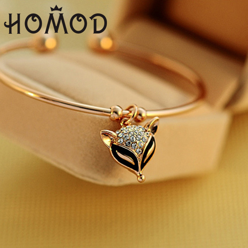 HOMOD Rose Gold Adjustable Fox Bracelets&Bangle For Women Filled with crystal Cuff Bangles Femme Fashion Jewelry