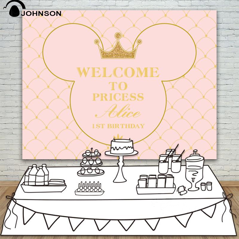DIY custom Princess Baby Shower Party Pink  Backgrounds for sale Vinyl cloth High quality Computer print birthday backdrops new year santa workshop backgrounds for sale vinyl cloth high quality computer printed christmas backdrops
