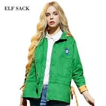 Elf SACK весна упасть в любовь с капюшоном с длинными рукавами средней длины печати свободные верхняя одежда женский w