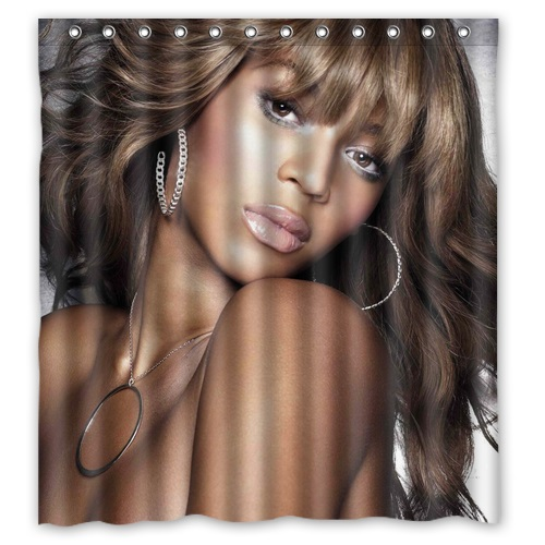 Hot Selling Discount Polyester Bath Curtains Printed Sexy Woman Beyonce Shower Curtain Waterproof Size 168x182cm With Hooks