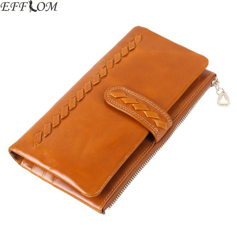 Genuine Leather Women Wallets Long Design Weave Woman Wallet Phone Pocket Purse Vintage Cowhide Female Card Holder Lady Clutch simple organizer wallet women long design thin purse female coin keeper card holder phone pocket money bag bolsas portefeuille