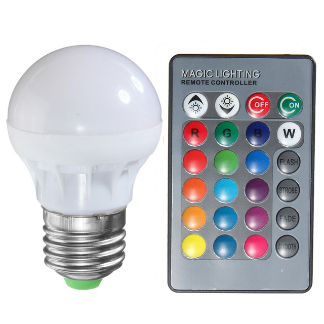 E27 B22 Rgb Led Light Bulb 3w 16 Colors Changing Magic Lamp Spotlight Ir