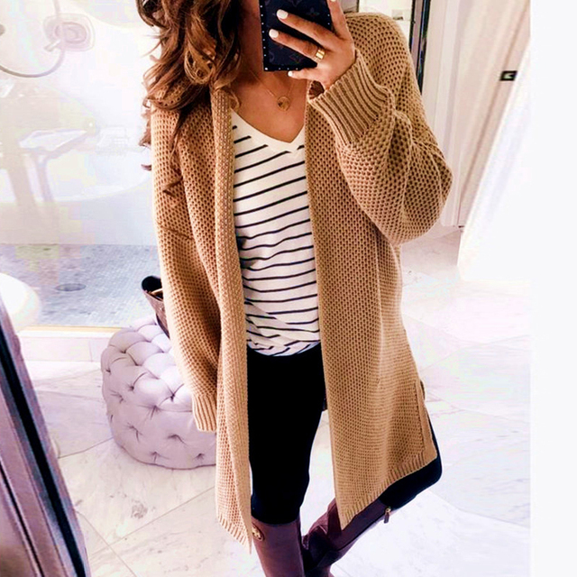 66edc1b631e 2019 Autumn Sweater Korean Fashion Cardigan Women Knitted Tops Sweater Open  Front Long Sleeve Solid Loose