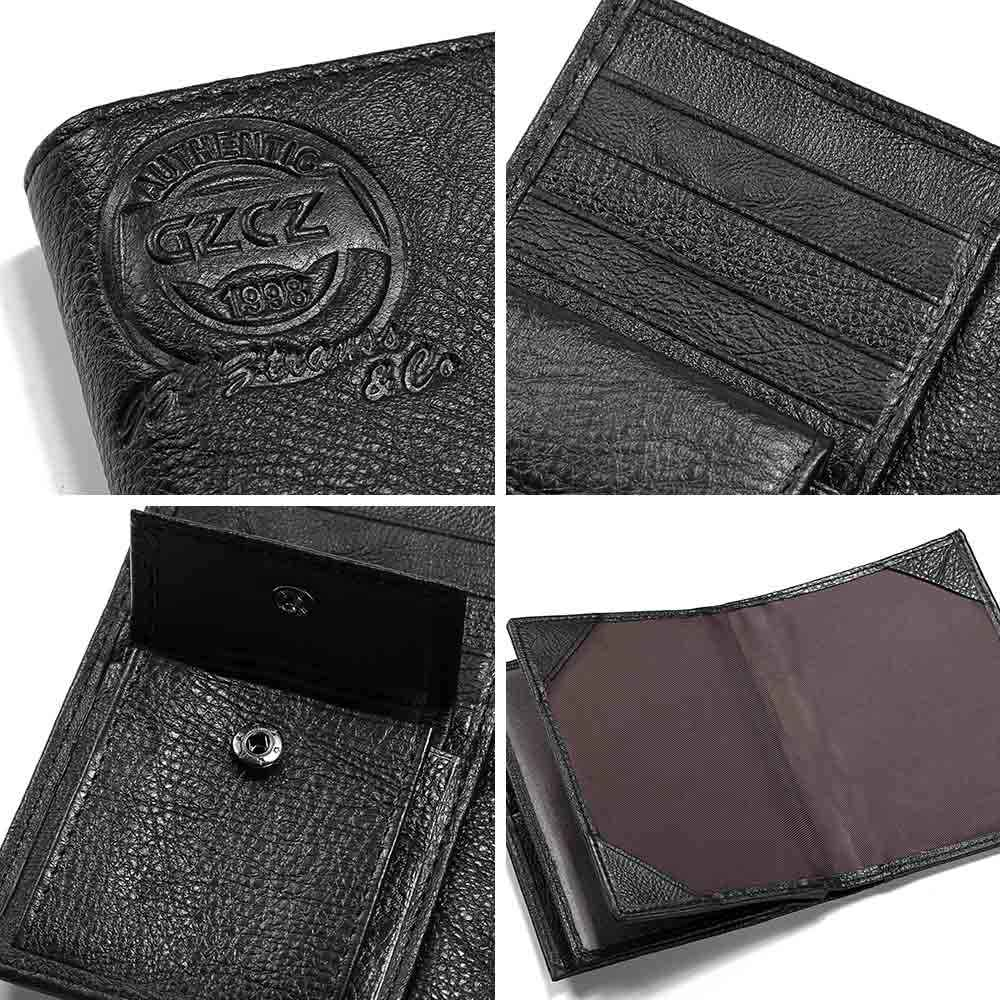 755be22afc7e GZCZ Men Genuine Leather Wallet Travel Passport Cover Case Document Holder  Large Capacity Credit Card Holder Coin Purse