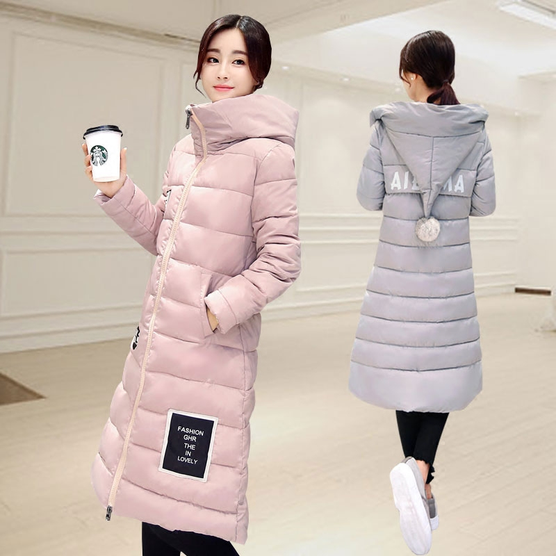 2016 New Padded Jacket Female Knee Long Slim Plus Size Down Cotton Thick Students Coat Winter Jacket Women Fur Hooded Jacket l 3xl winter jacket women s 2016 plus size slim down cotton padded jacket pocket long with a hood thermal brief down dy0010