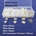 50 компл. Комплект в коробке 2 P 3 P 4 контактный 2.54 мм Шаг терминал/все для Дома/Штыревой Разъем Разъемы Проводов Адаптер XH2P комплекты