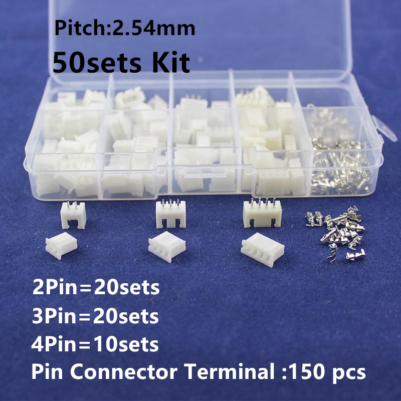 цены 50 sets Kit in box 2p 3p 4 pin 2.54mm Pitch Terminal / Housing / Pin Header Connector Wire Connectors Adaptor XH2P Kits