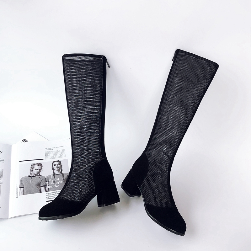 54043063a1f3f0 Black D'été 2019 À Carrées Mailles Dentelle Chaussures Fermeture Éclair De Talon  Femmes Lisa Printemps Véritable Haute ...