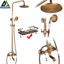 Shower Column Bath Mixer Tap Swivel-Rotate Ceramic Brass Antique Porcelain Dual-Knobs