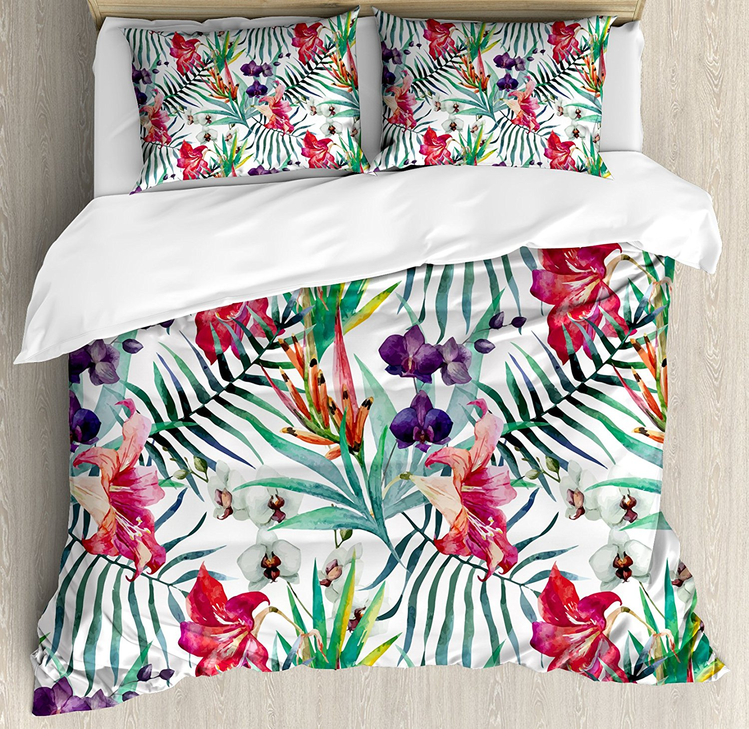 Floral Duvet Cover Set Watercolored Tropical Exotic ...