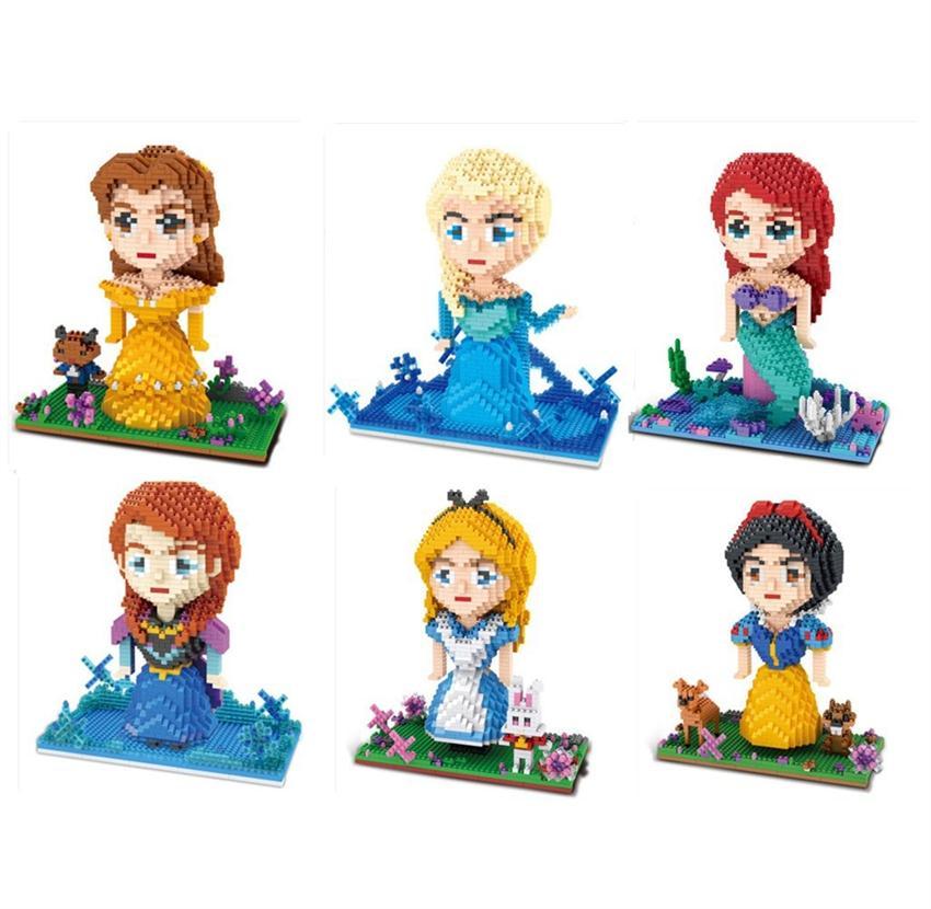 ZMS Small Blocks Cute Mermaid Model Small Bricks Elsa Princess Brinquedos Auction Firgures Juguete Girls Gifts Toys For Children