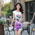 2016 Nova Moda Verão Cheongsam Retro Floral Impressão Vestidos Feminino Diária Cheongsam Estilo Chinês CS11