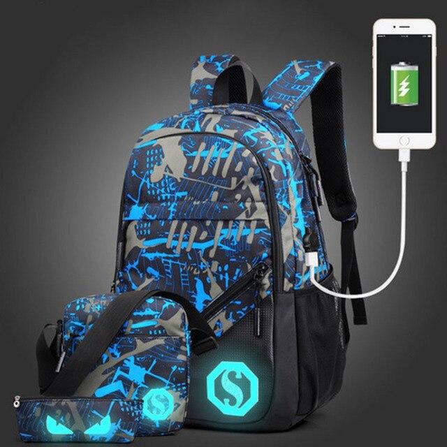 Senkey style Men's Backpacks New Design USB Charging Luminous Student School Bags For Teenagers Designer Laptop Backpack Women