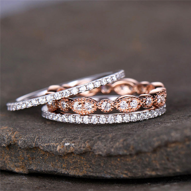 ROMAD 3pcs/set Dainty Ring Set for Women Rose Gold Filled Bridal Retro Wedding Band Promise Engagement Rings For R4