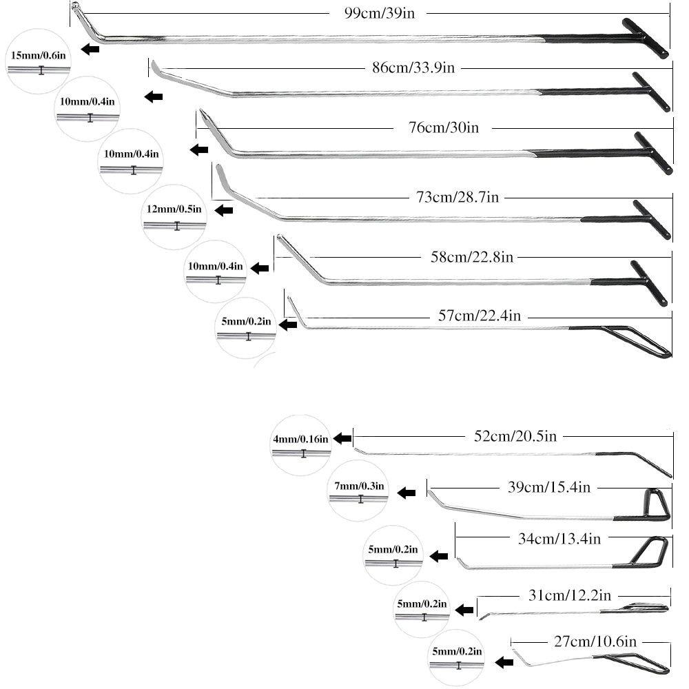 11 Pcs PDR Rods Hook Tools Paintless Dent Repair Car Dent Repair Dent Removal Dent Puller Lifter Glue Gun Tap Down Too11 Pcs PDR Rods Hook Tools Paintless Dent Repair Car Dent Repair Dent Removal Dent Puller Lifter Glue Gun Tap Down Too