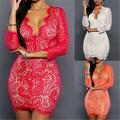 Sexy Women V-Neck Lace Bandage Bodycon Clubwear Evening Party Mini Dress