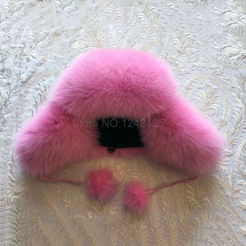 Winter Russia fur hat infant Girl Real Fox Fur Hat kids Children Earmuff hats pompom Warm