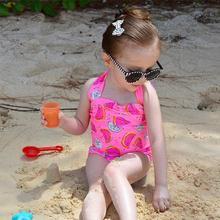 1-5Y Watermelon Swimsuit Girls One Piece Swimwear Solid Bandage Bodysuit Children Beachwear Sports Swim Suit Bathing Suit