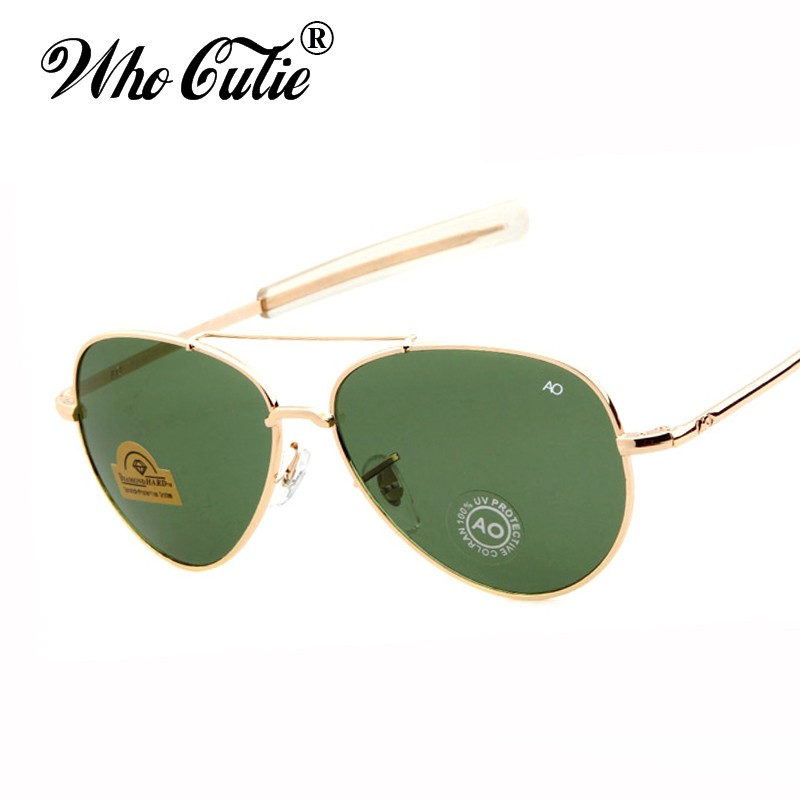 WHO CUTIE Brand James Bond AO American Optical Sunglasses Aviator Men New Army Military Vintage 90s 12K Gold Tint Frame Glasses