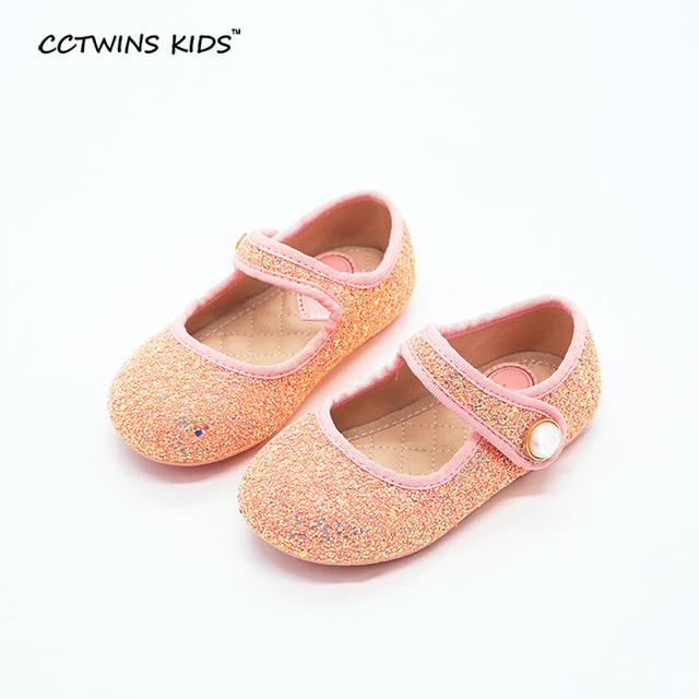 CCTWINS KIDS spring autumn baby girl glitter shoe for children fashion princess pearl ballet toddler flat pu leather silvery