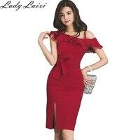 2019 Summer Party Dress Women Elegant Red Ruffle Slim Pencil Dress Bodycon Formal Work Dress