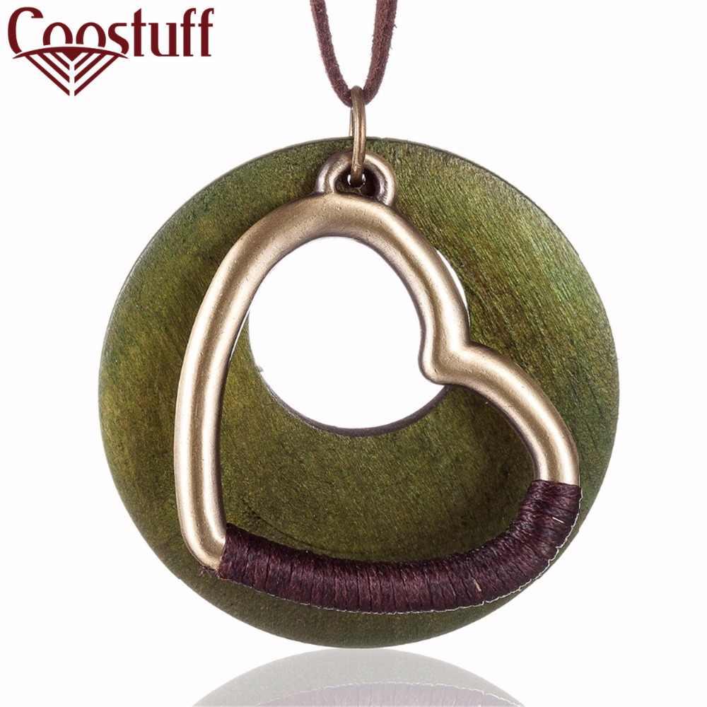 Винтажный чокер, женское ожерелье, оптовая продажа, модные ювелирные изделия, деревянное Сердце 6 см, длинная цепочка с кулоном для женщин, ожерелье женское колье