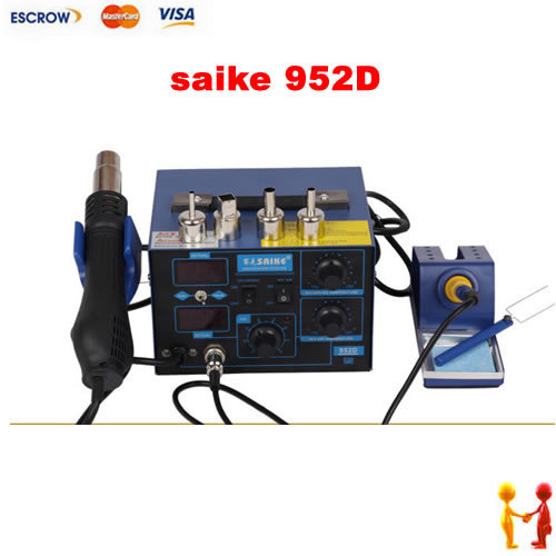 microprocessor 760W 2 in 1 soldering station Soldering Iron w/ Hot Air Gun BGA rework station Saike 952D 220v