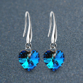"925 Sterling Silver with Platinum Plated ""Heart of Ocean"" Blue Crystal Earrings Women Charm Brand Jewelry Free Shipping(CE001)"