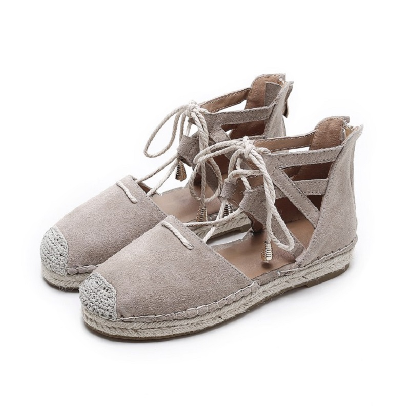 2017 New Retro Leather Shoes Flat-bottomed Fisherman Shoes Low-heeled Grass-straw Knot Cross-band Side Empty Female Casual Shoes 2016 summer new leather tendon at the bottom side of the empty fish head crude rainbow low heeled shoes women xtf039