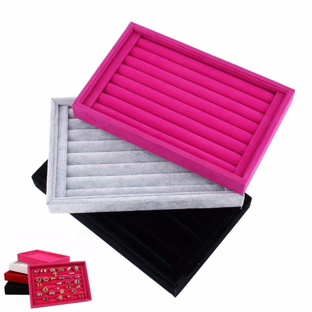 Velvet Jewelry Tray Stackable Ring Earring Tray Display Organizer ...